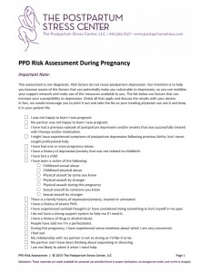 PPD Risk Assessment